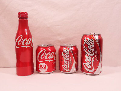 COCA-COLA ALUMINUM CANS BOTTLE EMPTY CLASSIC RED LOT 12 8 oz 250 mL collection