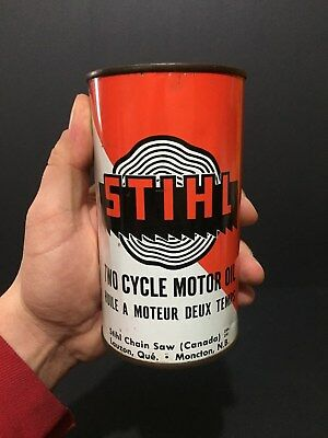 Rare Full Stihl Chain Saw Not Imperial Quart Oil Tin Can Sign Canada Advertising