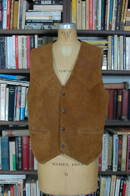 Vintage BERMANS Western Suede Leather Vest Chore Vest Work Vest Ranch Mens 44