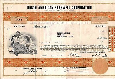 North American Rockwell Corporation stock certificate (Boeing) 1967