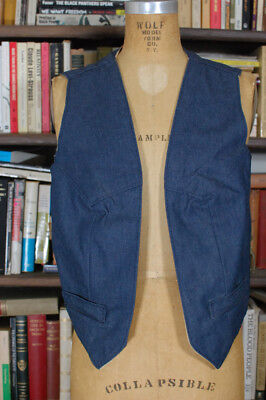 Vintage Suede Leather Denim REVERSIBLE Western Vest Chore Vest Mens LARGE