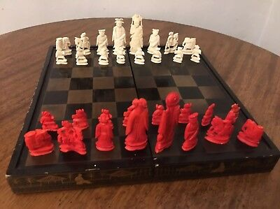 Antique Chinese Hand Carved Complete Bovine Cowbone Chess Set & Board/box