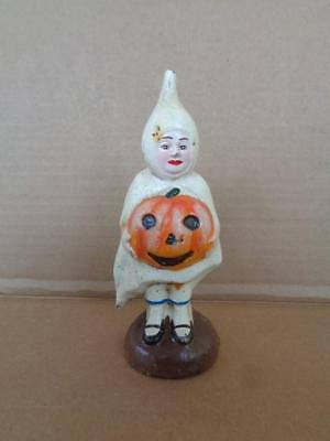 Cast Iron Ghost Costume Girl Halloween Pumpkin Coin Bank Pumpkin