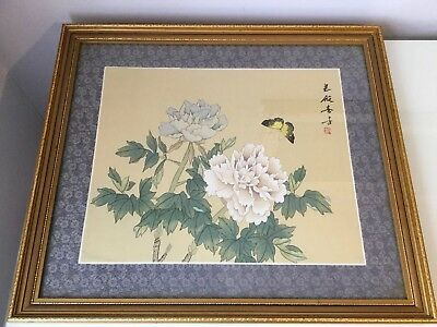 Vintage Chinese painting on silk  plaque-picture,framed under glass,signed