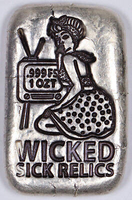 Wicked Sick Relics Pin-Up Girl 1oz .999 Fine Silver Poured Bar Bullion Art Bar