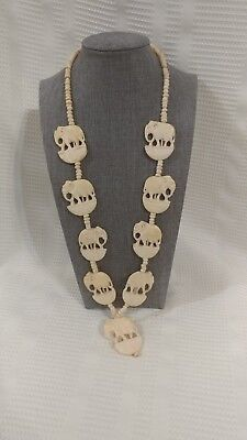 Vintage Handmade Elephants, Beads, and Clasp Necklace
