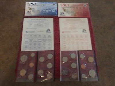 2001 Uncirculated Coin Set  United States Mint Denver And Philadelphia 20 coins