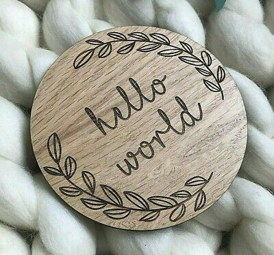 Wooden 'Hello World' Disc Flat Lay Nursery Decoration Kids Baby Gift Shower Prop