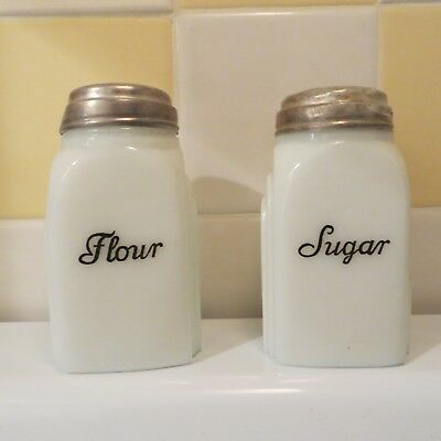 "SET OF 2  Vintage MILK Glass FLOUR & SUGAR SHAKERS  Art Deco  4&1/4"" Tall  Retro"