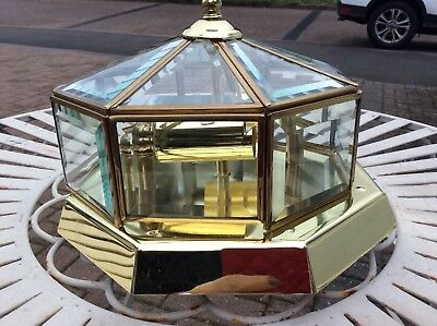 Antique Style brass 8 Sided Octagon flush beveled glass twin bulb Ceiling Light