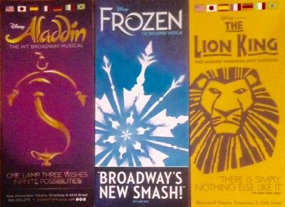 DISNEY on BROADWAY LOT of (3) BROCHURES ALADDIN LION KING & FROZEN BRAND NEW !!
