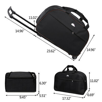 "24"" Rolling Duffle Bag Trolley Wheeled Travel Carry on Luggage Suitcase Tote US"