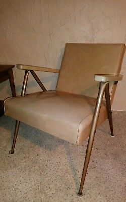 Mid Century Modern Viko Baumritter Lounge Arm Chair MCM Vinyl and Steel