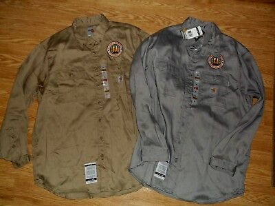 Lot Of 2 New Carhartt Fr Flame Resistant Ls Button Up Shirts Logo Xl
