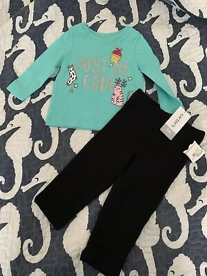 NWT baby Girls CARTERS Long Sleeve Shirt Leggings Outfit Size 6 9 Months