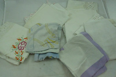 Vintage Assorted Lot Pillowcases Embroidered Lace Bedroom Home Decor