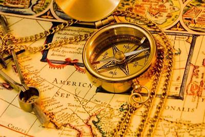 Vintage Brass Compass on Antique Map Photo Art Print Poster 24x36 inch