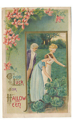 Halloween PC ca. 1908 * Good Luck Blindfolded Girls Picking Cabbage Embossed
