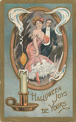 Halloween Post Card ca 1908 * Candle Mirror Couple Dressed Up * Joys Are Yours
