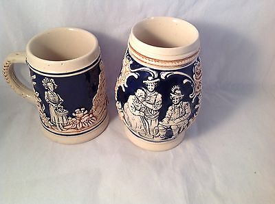 Vintage Lot Of 2 Marzi Remy Mini Steins Pre And Post 64 Cobalt Blue Cream