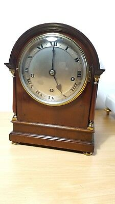 English Miniature Musical Bracket Clock Rare Westminster Chime on 5 Coiled Gongs