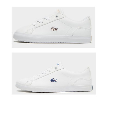 4a13c7a3d infant baby kids lacoste lerond 318 1 jd cai leather trainers boys girls