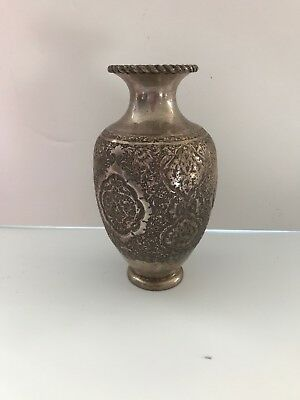Antique Early 20th Century Persian Vase, Hallmark,Engraved Solid Silver