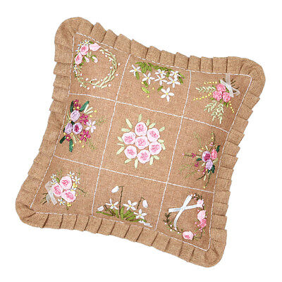 Unfinished Floral Ribbon Embroidery Kits Pillow Cushion Cover Decorative DIY
