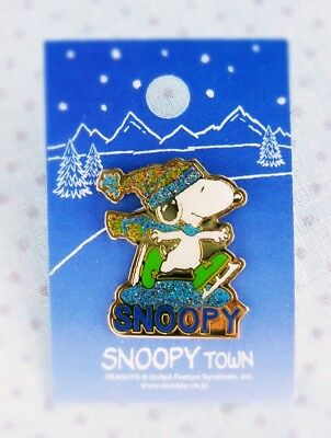 Bling Bling!!! Snoopy Pin with Glitter【Ice Skating】 from SNOOPY TOWN 1990's