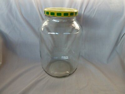 Vintage clear glass gallon size pickle jar Steinfeld's Western Acres