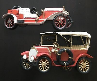 Vintage Burwood Products Pair Of Old Cars Excellent Color Large Wall Hangings