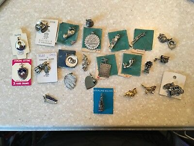 Large lot of 23 vintage sterling silver jewelry charms mixed lot