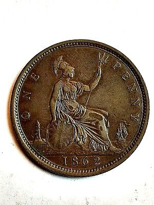 1862 Great Britain One Penny Coin