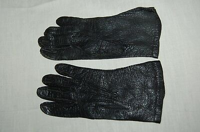Vintage Peccary Pigskin Leather Gloves Black Hand Sewn
