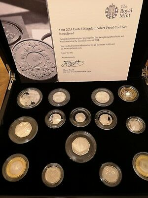 2014 UK  Proof 14 coin set collection  134.2g sterling