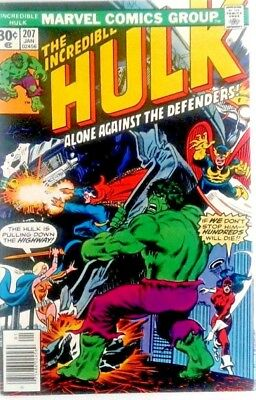 MarvelThe Incredible Hulk Comic 207 Alone Against the Defenders 1977 CO9