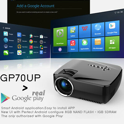 GP70UP 1920x1080P HD Projector Home Cinema Wireless Bluetooth WIFI Android 4.4