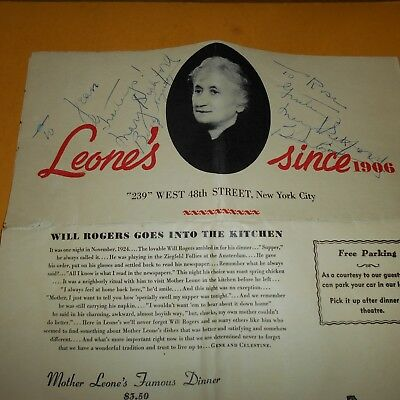 Mary Pickford & Buddy Rogers actors Hand Signed Menu  Leone's