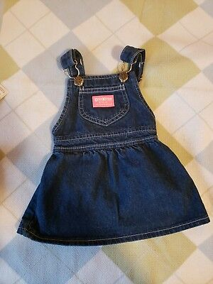 Vintage Oshkosh Denim Overall Dress Size 12 Months 100% Cotton Made In The Usa