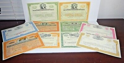 Lot of 10 Different Stock Certificates Vignettes From 1914-1971 Railroad