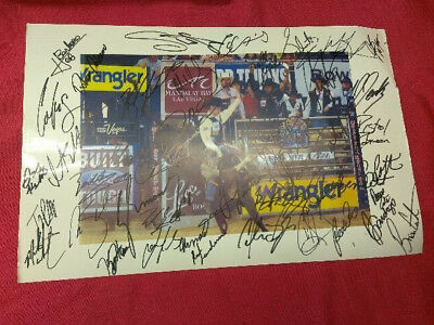 "Professional Bull Righters Rodeo Autograph Poster 44 Signatures  17""x11"""