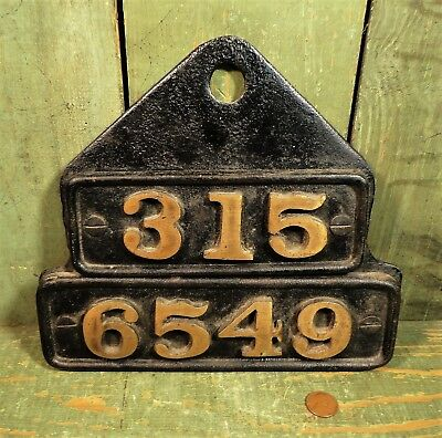 Antique Vtg Railroad Cast Iron & Brass Locomotive Number Plate or Builders ?