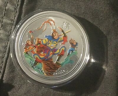 AUSTRALIA 1oz SILVER CHINESE MONKEY KING 2016 YEAR OF  MONKEY COLORIZED PROOF $1