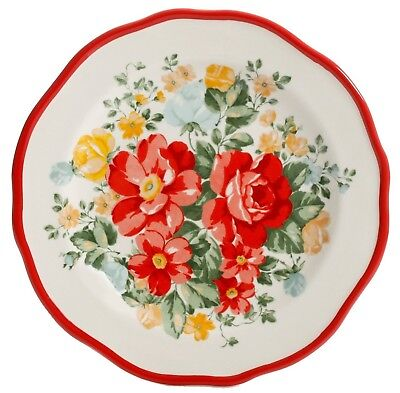 Pioneer Woman Vintage Floral Ruffle RED Stoneware Salad Plates TWO NEW COLOR