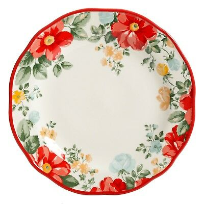 Pioneer Woman Vintage Floral Ruffle RED Stoneware Dinner Plates TWO NEW COLOR