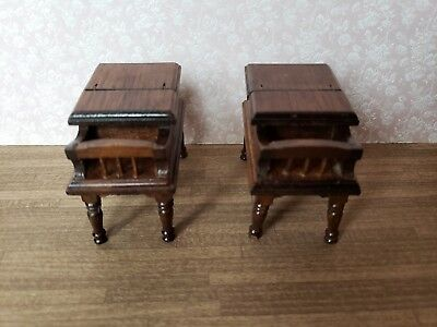 2 Vintage Dollhouse Miniature Furniture Colonial Early American End Tables