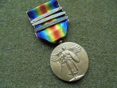 Nice WWI US Victory medal with three bars *90th Infantry Division*