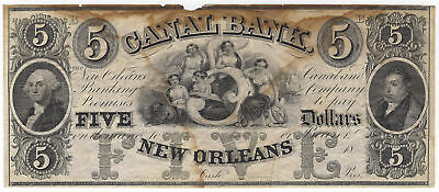 $5 18xx Canal Bank New Orleans Louisiana Remainder