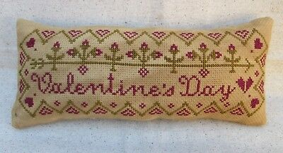 "Primitive Handmade Cross Stitch Hearts Valentine's Day Pillow Tuck 9 1/2"" x 4"""