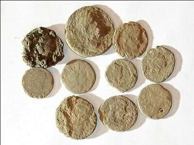 10 ANCIENT ROMAN COINS AE3 - Uncleaned and As Found! - Unique Lot X01107